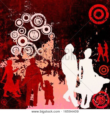 illustration of an urban scene with people silhouettes