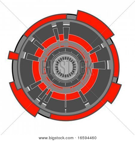abstract futuristic hi-tech clockwork shape; illustration background
