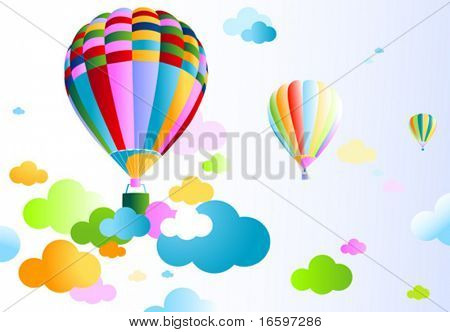 air balloon on a cloudy sky