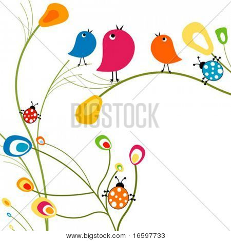 birds and ladybugs