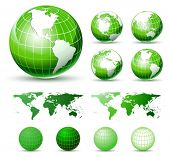3D Vector Icons: Glossy Green Earth Globes. Different views. elements Available For Making Other Vie