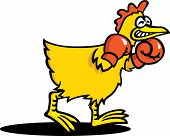pic of fighting-rooster  - A bird has boxing gloves on and is ready for a fight - JPG