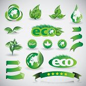 Green eco shiny icon collection poster
