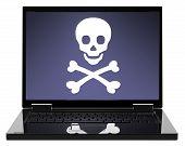 Постер, плакат: Череп и скрещенные кости на экране ноутбука