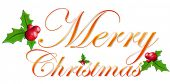 picture of merry christmas text  - The christmas small bell and holly - JPG