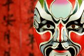 Beijing opera masks on a festive background.