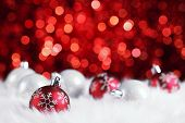 image of christmas party  - christmas ball on abstract light background - JPG