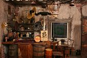 foto of gunslinger  - Inside of a replica of a wild west saloon - JPG