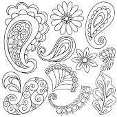 Hand-Drawn Abstract Henna Paisley Vector Illustration Doodle Design Elements