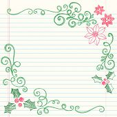Hand-Drawn Christmas Holly Leaves Sketchy Notebook Doodles Border with Poinsettias and Swirls- Vecto