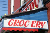 stock photo of grocery store  - a picture of a grocery store sign - JPG