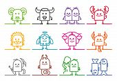 image of zodiac sign  - single line ZODIAC signs - JPG