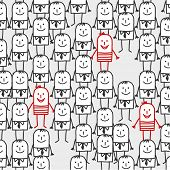 cartoon crowd - seamless pattern