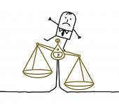 hand drawn cartoon characters - man & imbalance, injustice poster