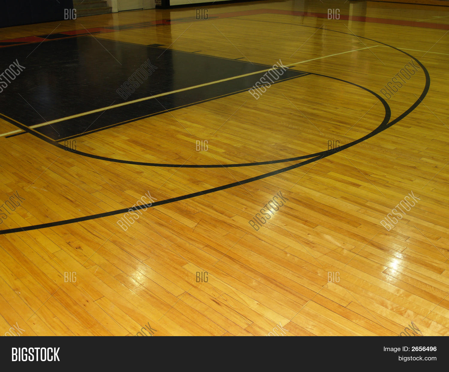 Wood floor on indoor basketball image photo bigstock for Custom indoor basketball court