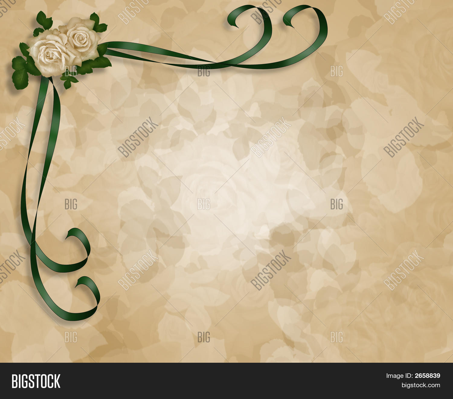 Soft Roses Parchment Wedding Invitation Stock Photo