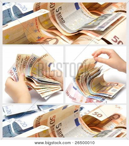 Collage mit Euro-Banknoten