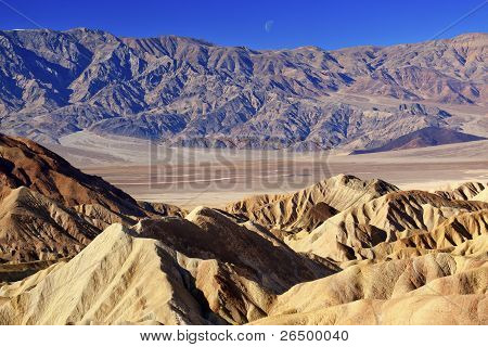 Moon Over Zabruski Point Death Valley National Park California