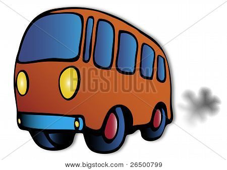 orange bus illustration