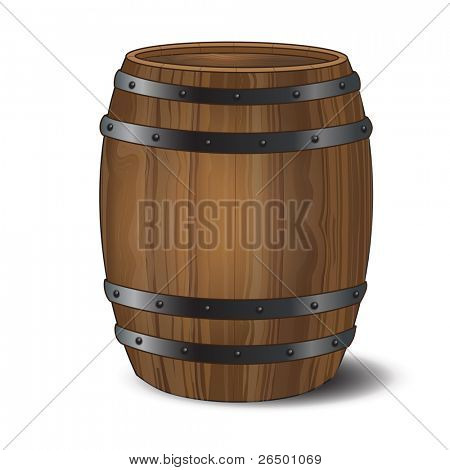 A wooden beer or wine barrel on white background.Also available in vector format.