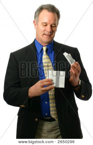 Businessman Accepting Gift