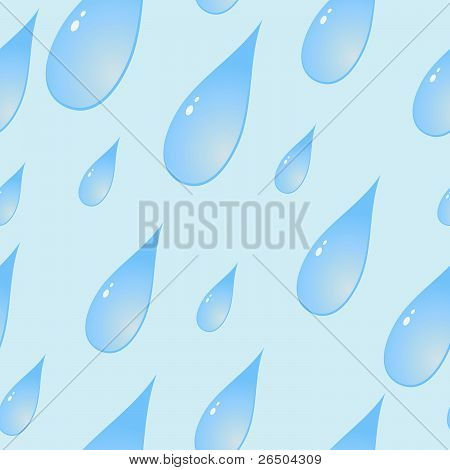 Background With Stylized Blue Raindrops, Seamless
