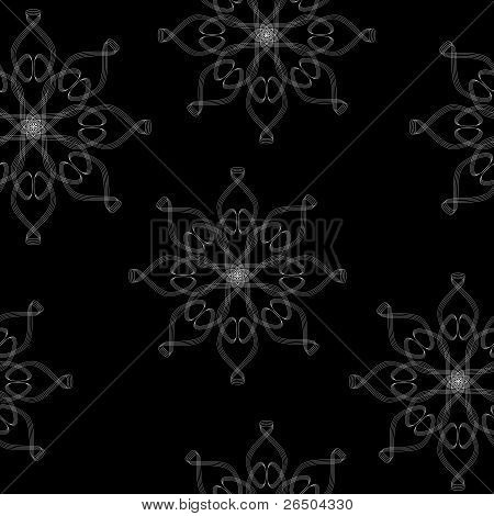 Seamless Texture With Ornament On  A Black Background