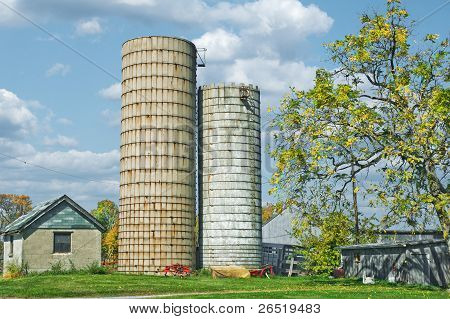 Grain Silo On The Farm
