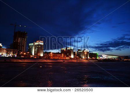 Night cityscape of Minsk.