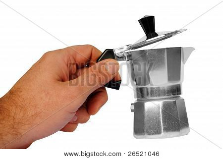 man hand holds a typical italian moka on white background