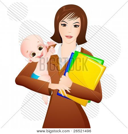 illustration of woman with baby in arms and file in other hand