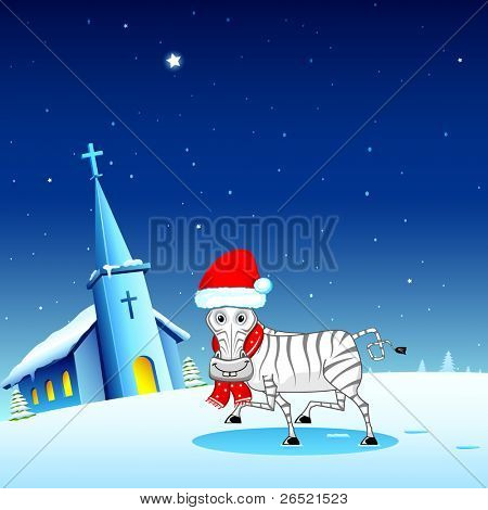 illustration of zebra wearing santa cap in snowy christmas night