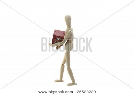 Wooden Manikin Doll Holding Christmas Box
