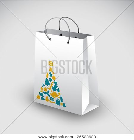 White shopping bag with christmas tree motive