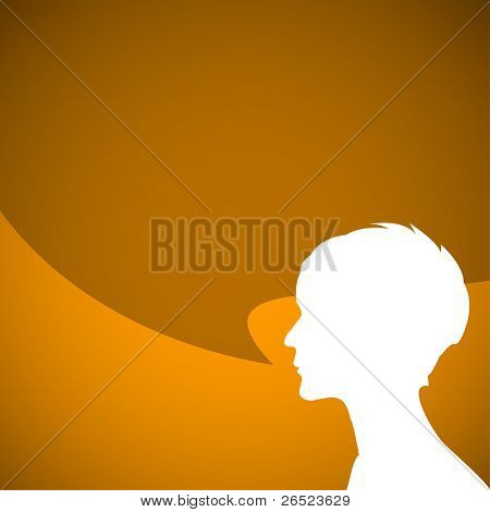 Abstract speaker silhouette with big orange bubble - place for your content