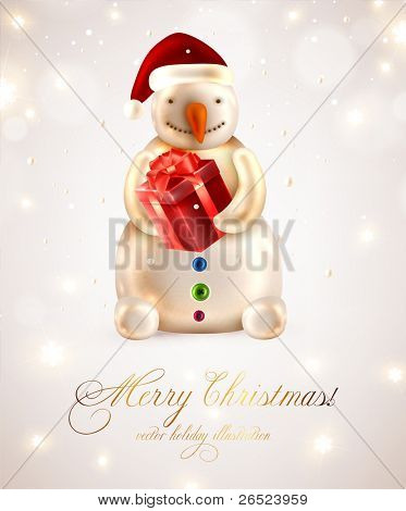 Snow man with gift for you