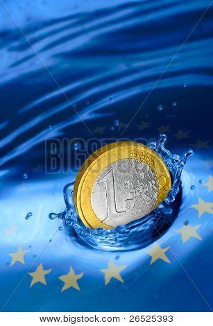Euro coin falling to the water. European financial crisis metaphor.