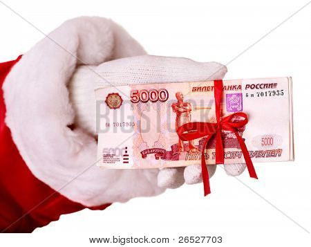 Santa Claus hand with  money (Russian rouble). Isolated.