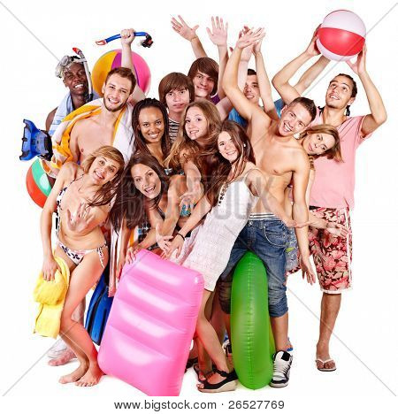Group people holding beach accessories. Isolated.