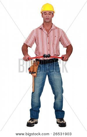 Worker with a pair of boltcutters