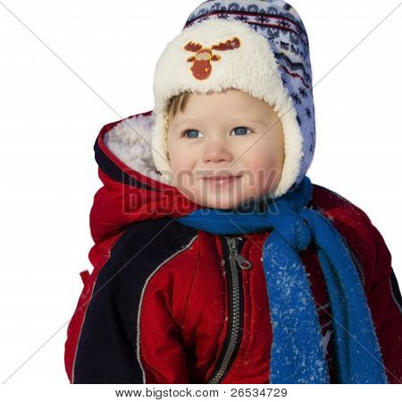 Baby boy  at winter clothes  isolated on white;
