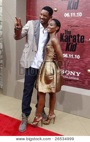 LOS ANGELES - JUNE 7: Jada Pinkett Smith and Will Smith at the premiere of 'The Karate Kid' at the Mann Village Theater on June 7, 2010 in Los Angeles, California
