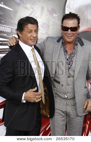LOS ANGELES - AUG 3: Sylvester Stallone, Mickey Rourke at the Screening of 'The Expendables' held at Grauman's Chinese Theater on August 3, 2010 in Los Angeles, California