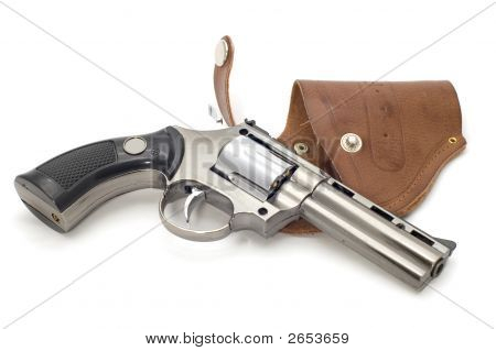 Revolver And Holster On White