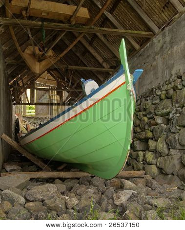 Traditional Faroese Fishing Boat Made ??of Wood In An Old Boathouse