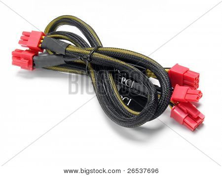Computer PCI wire isolated on white background.
