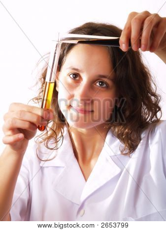 Scientist Using A Test Tube