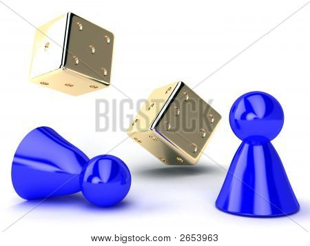 Gold Dice And Blue Chips