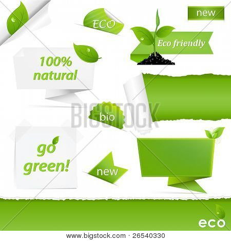Eco Green Set, Isolated On White Background, Vector Illustration