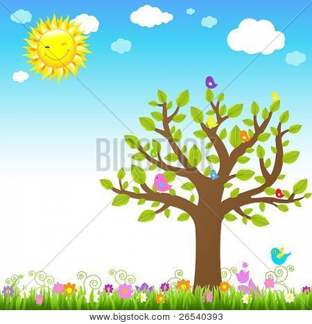 Cartoon Landscape With Bird, Vector Illustration